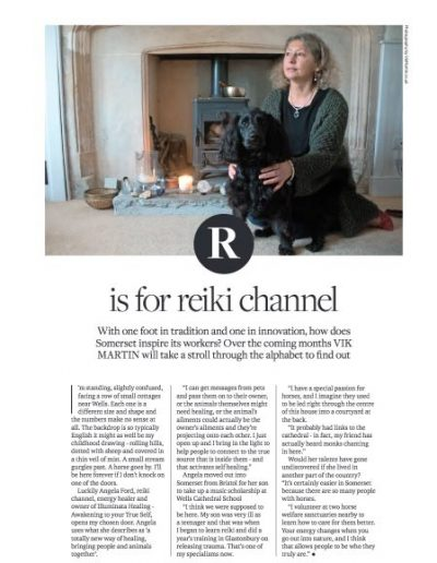 Image of an illustrated article published in Somerset life magazine in March 2018