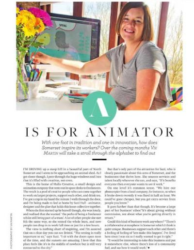 Image of an illustrated article published in Somerset life magazine in September 2016