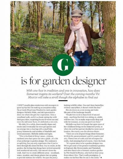 Image of an illustrated article published in Somerset life magazine in March 2017