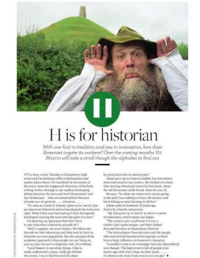 Image of an illustrated article published in Somerset life magazine in April 2017